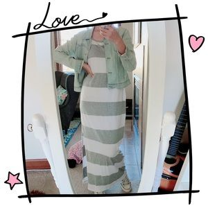 Gap Maxi Dress In Grey And White Stripes